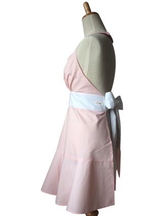 フレアエプロン ピンク×ホワイト